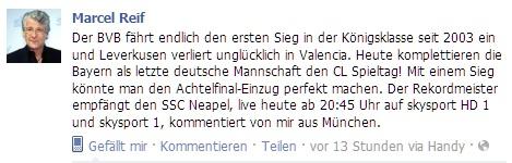 Quelle: Facebook - Profil von Marcel Reif - 2. November 2011
